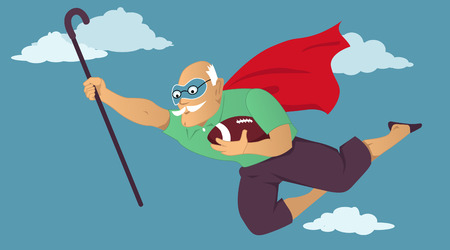 Senior man in a superhero cape and a mask flying with a football and a cane in his hands