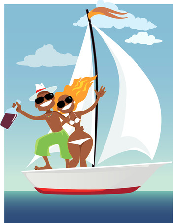 Cute happy tanned couple on a sailing boat, vector cartoon, no transparencies