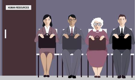 discriminacion: Mujer mayor que se sienta en una línea para una entrevista de trabajo entre los solicitantes más jóvenes, ilustración vectorial