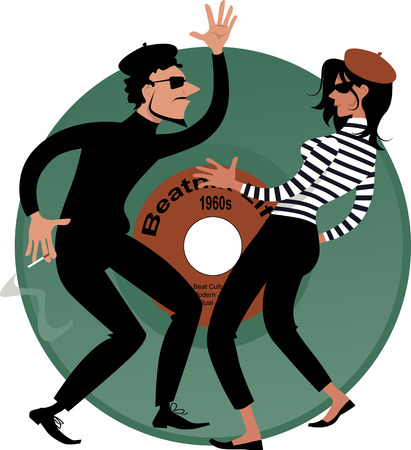 counterculture: Beatnik couple dancing, vinyl record on the background, vector cartoon