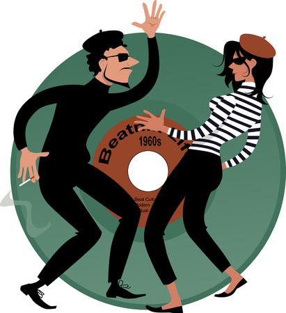 counterculture: Beatnik couple dancing, vinyl record on the background, vector cartoon