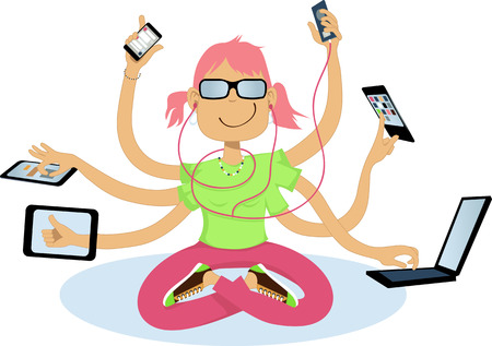 Cool geeky girl with six arms using assorted wireless gadgets, vector illustration, no transparencies Vettoriali