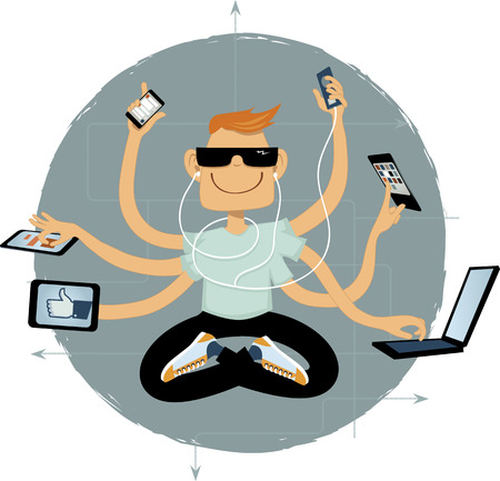 Cool geek with six arms using assorted wireless gadgets, vector illustration, no transparencies Illustration