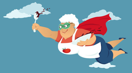Senior woman in a superhero cape and a mask flying with a bowl of chocolate cake butter or pudding in her hands Vectores