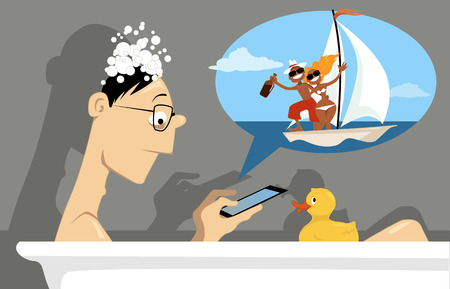 media gadget: Man checking social network on a mini tablet, sitting in a bath tub, vector illustration, no transparencies Illustration