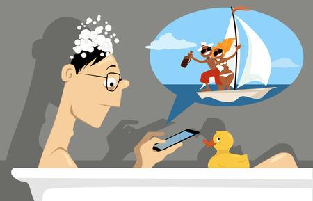 Mens die sociaal netwerk op een mini-tablet, zittend in een bad, vector illustratie, geen transparanten