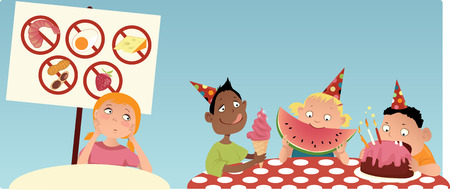 food allergy: Allergic girl sitting at the separate table at the party, looking at the other kids eating food shes not allowed to have, vector illustration