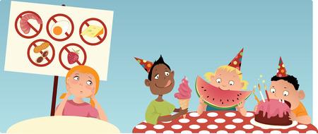 intolerancia: Chica alérgica sentado en la mesa separada en la fiesta, mirando a los otros niños que come el alimento que ella no está permitido tener, ilustración vectorial