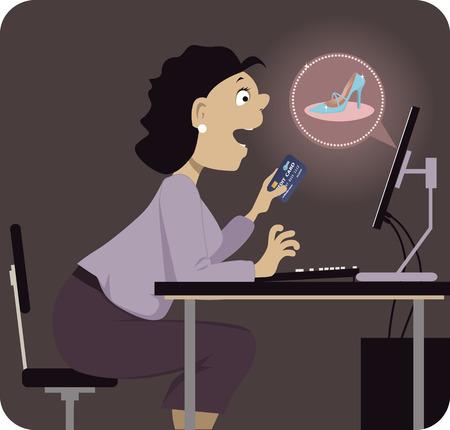 compras compulsivas: Zapatos compulsivos navegación comprador en Internet, la celebración de una tarjeta de crédito en una mano, ilustración vectorial, sin transparencias