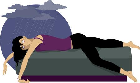 Nastoletnia dziewczyna w depresji, leżącego na kanapie, deszczowe chmury nad głową, ilustracji wektorowych