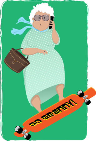 Cute cartoon senior woman riding a longboard and talking on a cellphone, vector illustration Çizim