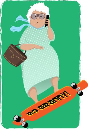 señora mayor: Historieta linda mujer mayor montado en un longboard y hablando por un teléfono celular, ilustración vectorial Vectores