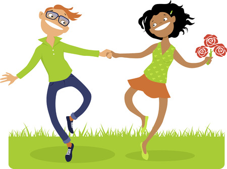 teenagers love: Happy cartoon couple - white guy and black girl - skipping on the grass, vector illustration, no transparencies Illustration