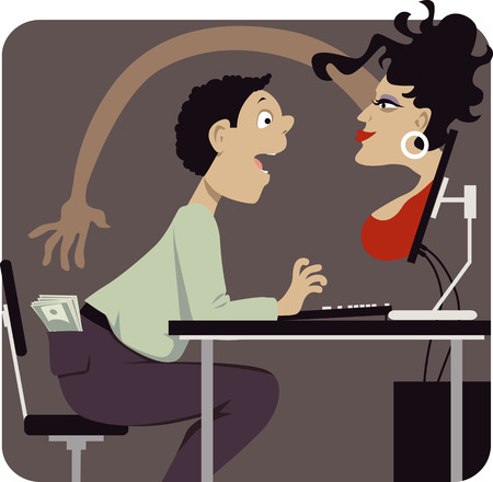 ladron: Mujer voluptuosa intentar robar dinero de una estafa v�ctima citas por Internet, ilustraci�n vectorial