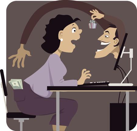 Estafador Online llegar a robar el dinero de bolsillo de la mujer, su distracción con un regalo o un regalo de promoción, ilustración vectorial