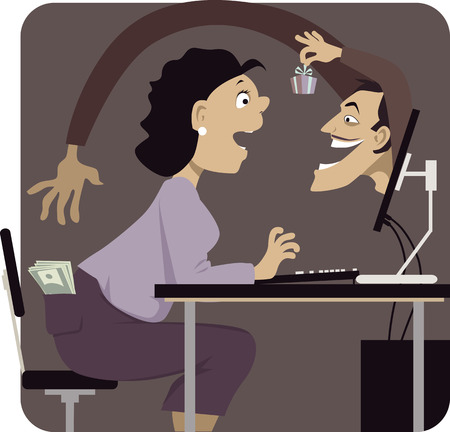 Online scammer reaching to steal money from woman\'s pocket, distracting her with a gift or a freebie, vector illustration Vettoriali