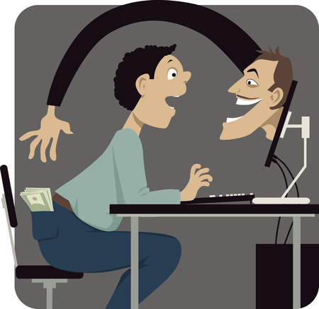 Online scammer reaching to steal money out of a pocket of a naive internet user, vector illustration