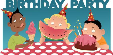 Three cartoon kids at the table, eating, birthday party background, vector illustration Иллюстрация