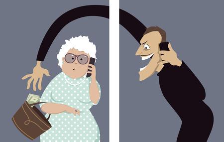 identidad: Estafador habla en un teléfono con una mujer mayor y tratando de robar el dinero de su bolso, ilustración vectorial, sin transparencias Vectores