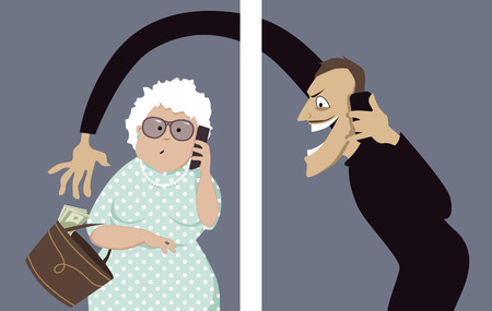 identity thieves: Scammer talks on a phone with a senior woman and trying to steal money out of her purse, vector illustration, no transparencies