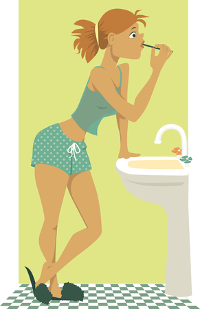 Young girl in pajamas brushing her teeth in front of the bathroom sink, vector cartoon, no transparencies, EPS 8