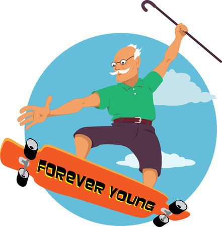 grandparent: Elderly man with a walking can riding a longboard or skateboard, vector cartoon, no transparencies, EPS 8