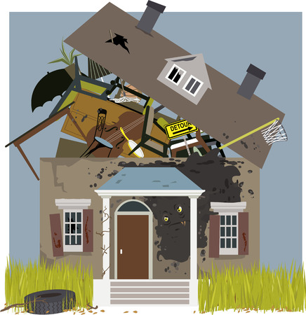 Mold monster creeping on a house, bursting with junk, vector illustration, no transparencies, EPS 8
