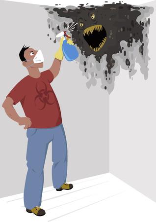 limpieza del hogar: Hombre en una m�scara respiratoria con un signo de riesgo biol�gico en su camisa rociar un monstruo moho en la pared de la casa, ilustraci�n vectorial, sin transparencias, EPS 8