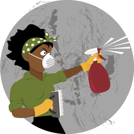 Black woman in a respiratory safety mask cleaning a dirty wall with a brush and spray bottle, vector illustration, EPS 8
