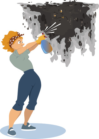infestation: Woman spraying a mold monster on the wall from the spray bottle, removing the fungus infestation, vector illustration, EPS 8, no transparencies