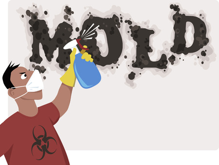 Man in a respiratory mask with a bio-hazard sign on his shirt spraying a world mold on the wall that looks like black mold, vector illustration, no transparencies, EPS 8