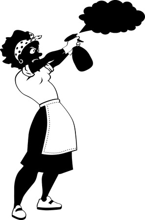 Black vector silhouette of a woman with a spray bottle cleaning the house or killing insects, EPS 8, no white objects