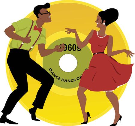 Stijlvolle paar gekleed in de vroege jaren 1960 mode dansen de twist, vinyl record op de achtergrond, EPS 8