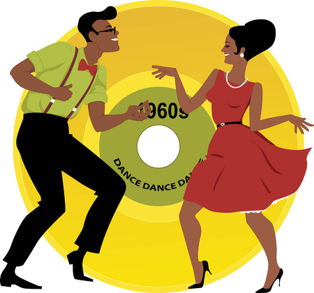 Stylish couple dressed in early 1960s fashion dancing the twist, vinyl record on the background, EPS 8