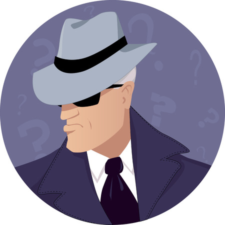 secret: Male secret agent in a hat and sunglasses, vector illustration, no transparencies, EPS 8