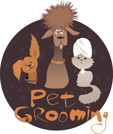 Pet grooming service illustration with two dogs of different breeds, a cat with a towel on its head and original lettering, ESP 8 vector illustration, no transparencies