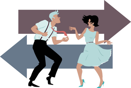 twist: Stylish couple dressed in early 1960s fashion dancing the twist, two arrows on the background, EPS 8 Illustration
