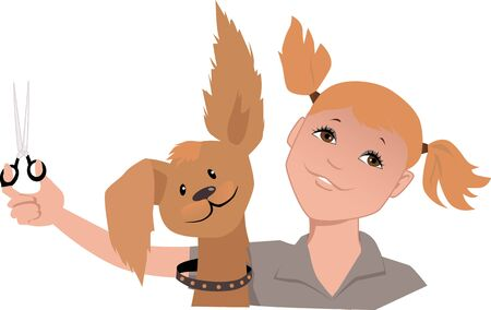 groomer: Portrait of a professional pet groomer with a cute god, looking like her, vector illustration, EPS 8 Illustration