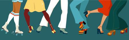 gente che balla: Le gambe di un gruppo di persone vestite nel 1970 la moda ballare discoteca, illustrazione vettoriale, non lucidi, EPS 8