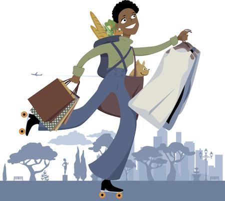 Jonge zwarte vrouw op rolschaatsen doen van meerdere boodschappen in de stad, vector illustratie, geen transparanten Vector Illustratie