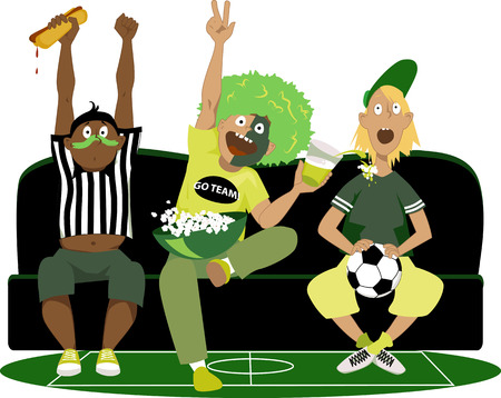 sport fan: Three young guys watching a soccer game on TV, cheering, vector illustration, no transparencies  Illustration