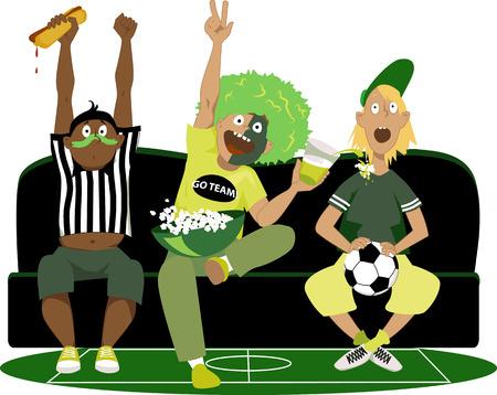 Trois jeunes gars regarder un match de football à la télévision, acclamations, illustration vectorielle, pas transparents Banque d'images - 44339949