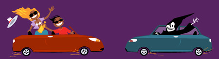 drunk cartoon: Careless couple with a bottle of liquor driving, about to collide with a grim reaper in another car, vector cartoon, no transparencies
