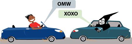 driving a car: Hombre joven los mensajes de texto mientras se conduce un autom�vil, a punto de chocar con el desgarrador sombr�o, vector de la historieta