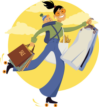 Young woman on roller skates carrying shopping bags, dry-cleaning, a dog and a baby, vector illustration