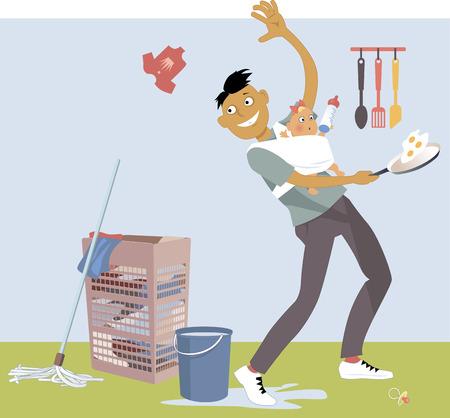 Stay-at-home vader met een baby in een draagdoek, het uitvoeren van meerdere huis klusjes, vector cartoon, geen transparanten
