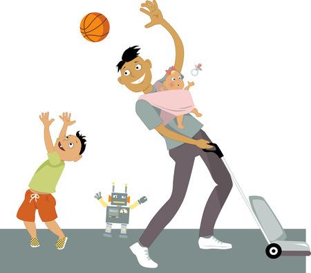 Vector father and son: Ở lại nhà cha với một em bé trong một sling, hút bụi và chơi bóng với con trai, phim hoạt hình vector của mình, không trong suốt, Hình minh hoạ