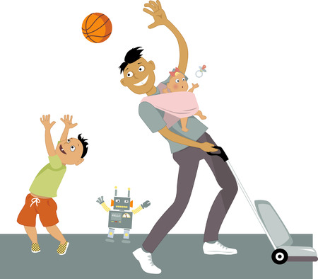 vacuuming: Stay-at-home dad with a baby in a sling, vacuuming and playing ball with his son, vector cartoon, no transparencies,  Illustration