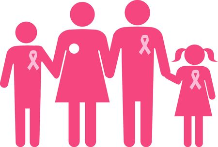Symbol for breast cancer family support, husband and children wear ribbons, holding hands with a patient undergone mastectomy, ESP 8 Ilustracja