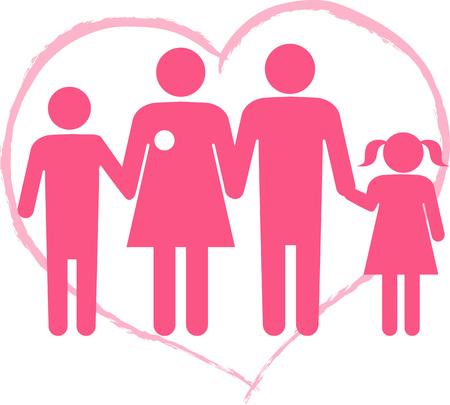 Symbol for breast cancer survivor family, heart shape on the background, ESP 8